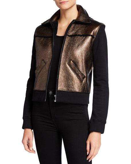 Majestic Filatures Collared Zip-Front Metallic Shearling Jacket