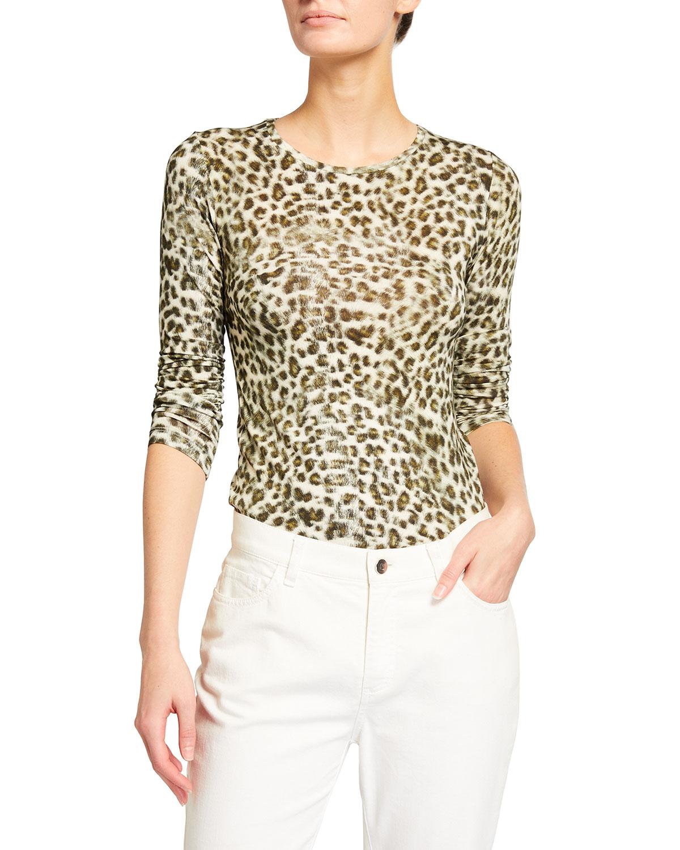 Leopard-Print Long-Sleeve Crewneck Top