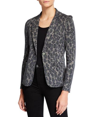 Leopard Print Cotton/Cashmere Blazer