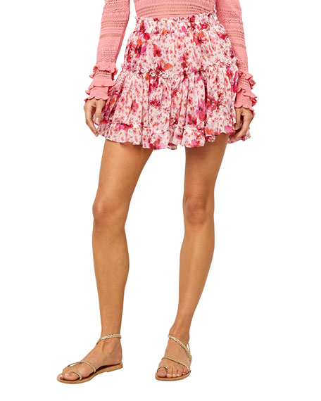 MISA Los Angeles Marrion Floral Ruffle Skirt