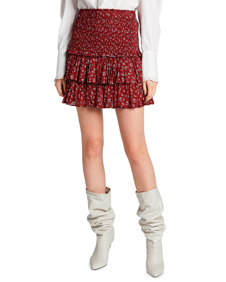 Etoile Isabel Marant Naomi Cotton Floral Tiered Mini Skirt
