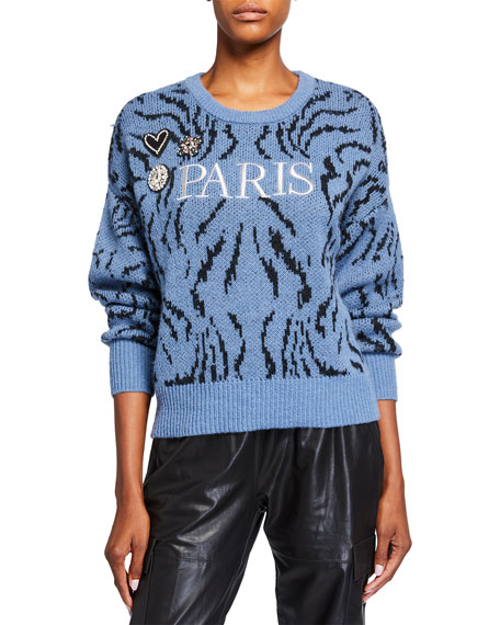 cinq a sept Paris Applique Wool Sweater