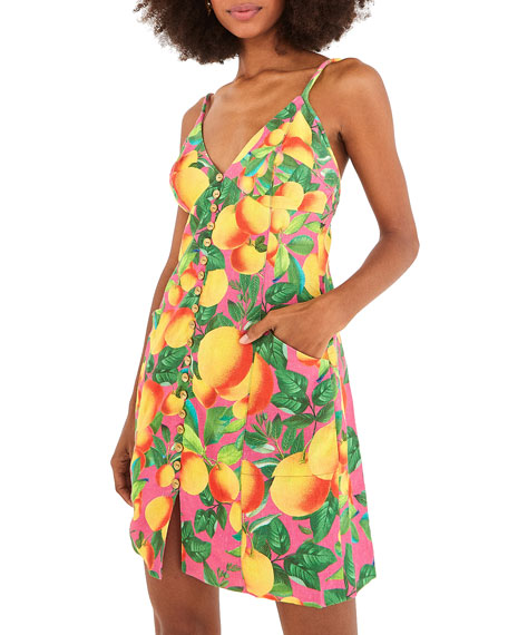 Farm Rio Orange Sunset Linen Mini Dress