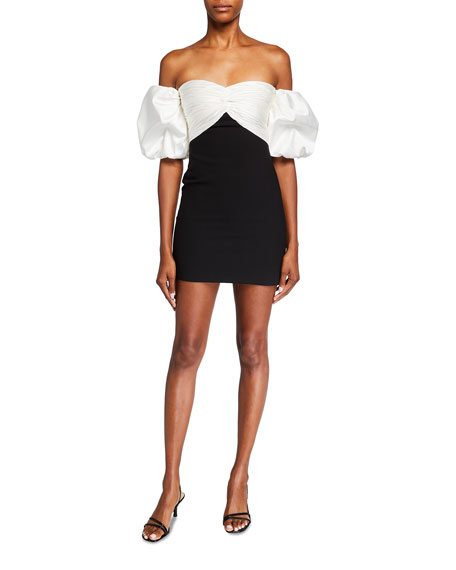 cinq a sept Teagan Off-the-Shoulder Puff-Sleeve Mini Dress