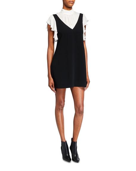 cinq a sept Rei Short-Sleeve Faux Overall Dress