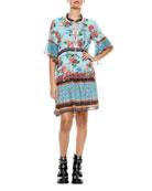 Alice + Olivia Glory Tiered Ruffle Tunic Dress