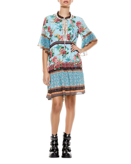 Alice + Olivia Glory Tiered Ruffle Tunic Dress