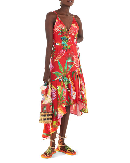 Farm Rio Red Macaw Wrap Dress