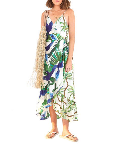 Farm Rio Mixed Palm Wrap Dress