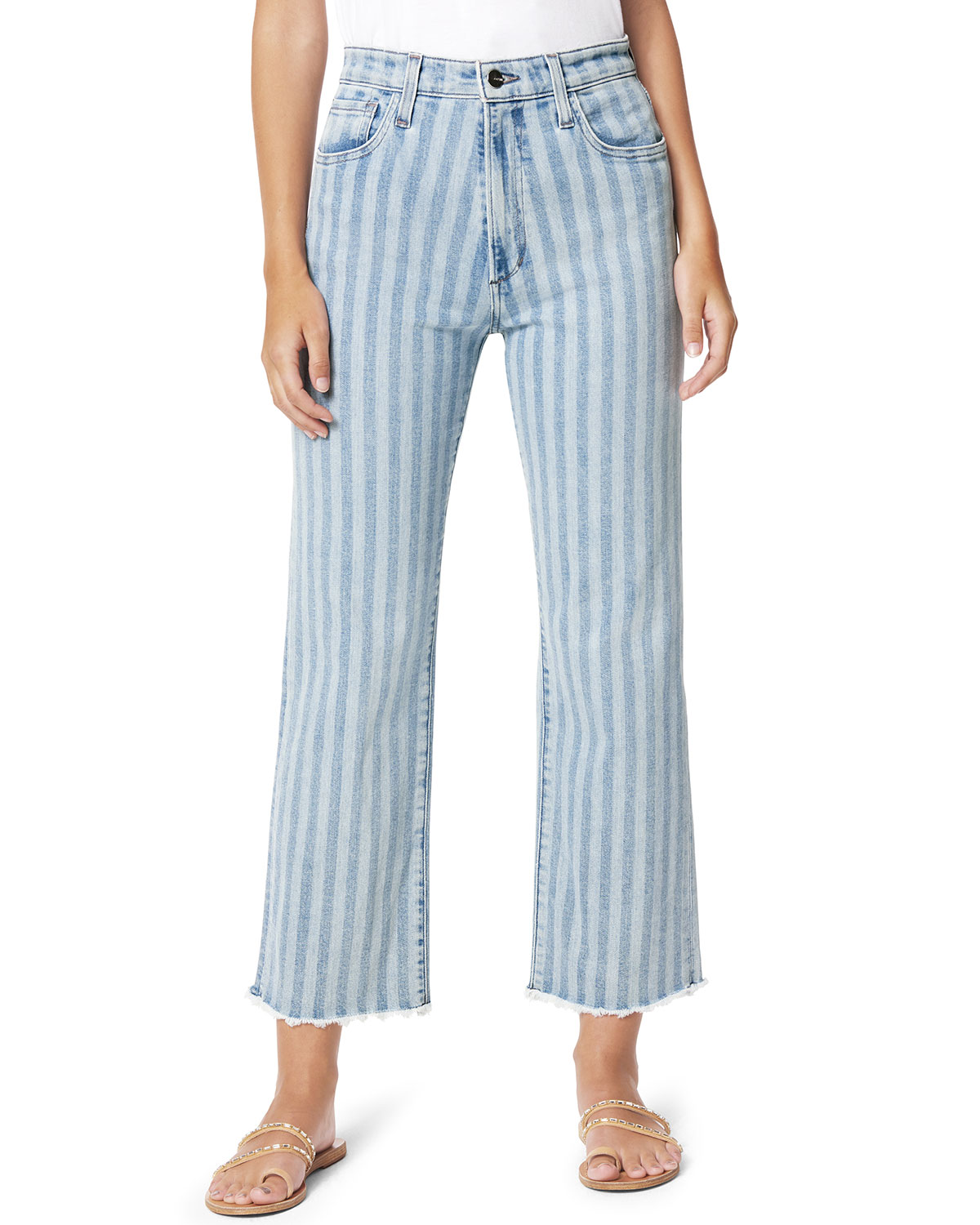 The Blake Striped Wide-Leg Jeans with Frayed Hem