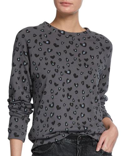 Leopard Heart-Print Raglan-Sleeve Sweatshirt