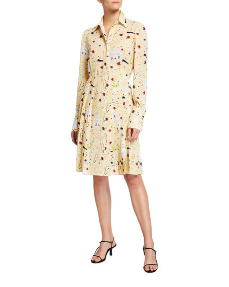 Victoria Victoria Beckham Jazz Print Pleated Button-Front Dress