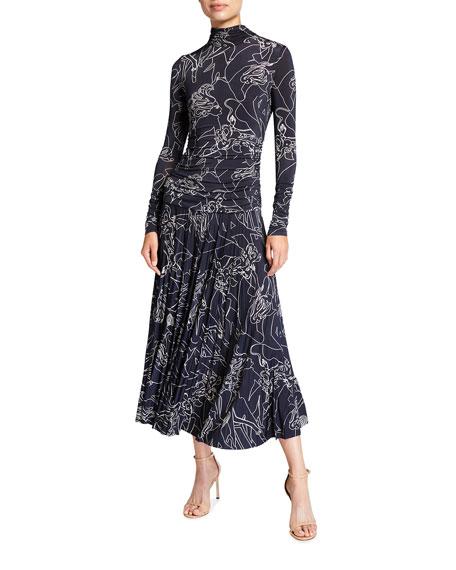 Victoria Victoria Beckham Pleated Cabaret Print Dress