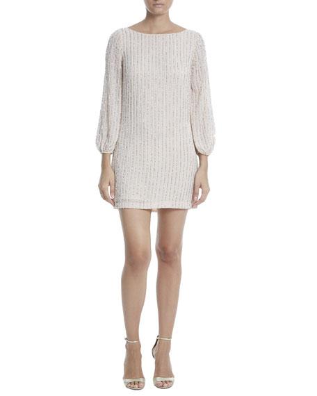 One33 Social Vertically Beaded Poet-Sleeve Mini Dress