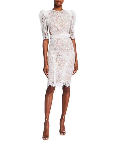 Madeline Guipure Lace Puff-Sleeve Dress