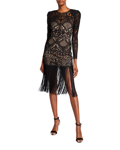 Bronx and Banco Allegra Long-Sleeve Fringe-Hem Lace Midi Dress