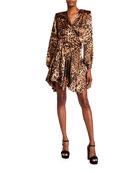 Bronx and Banco Leopard Print Wrap Dress