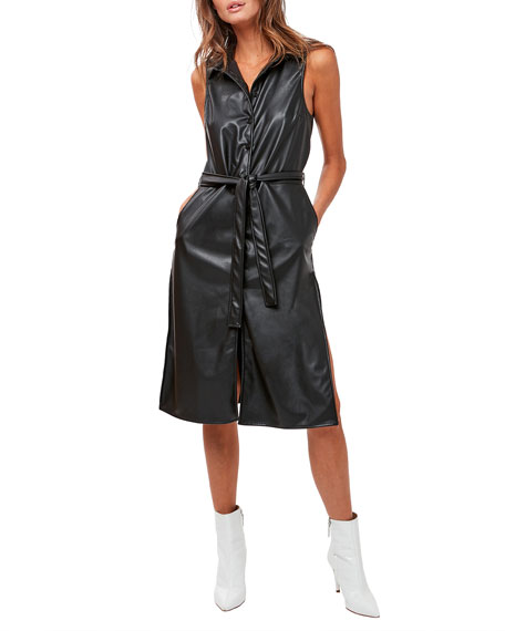 ASTARS Nightfall Vegan Leather Shirtdress