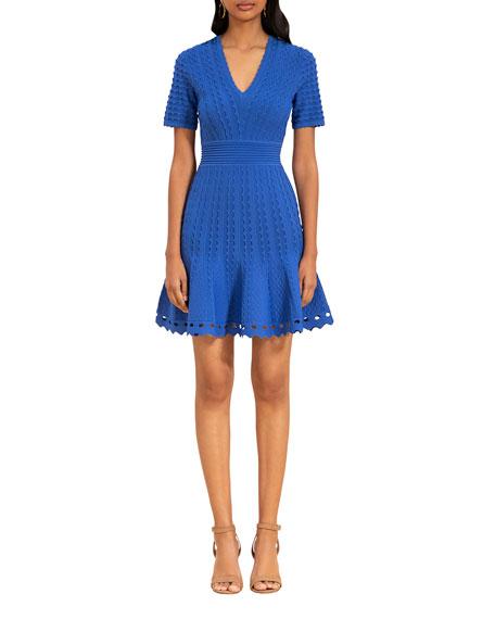 Shoshanna Janice Scallop Textured Dress