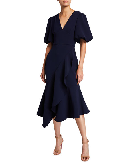 Shoshanna Wades Midnight Crepe Midi Dress