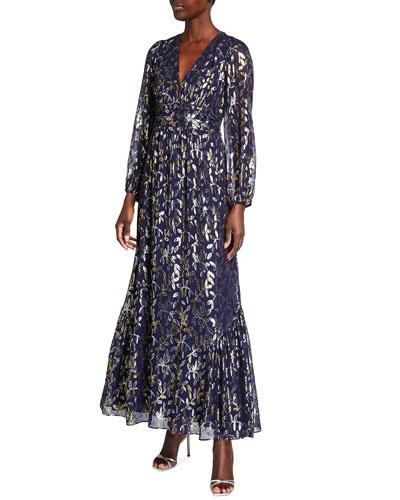 Eliza Metallic Leaf Chiffon Maxi Dress