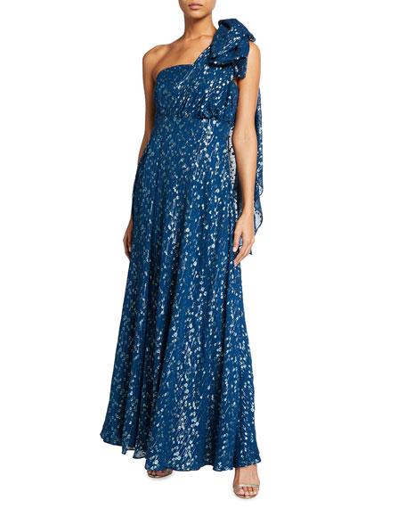 Shoshanna Caprina One-Shoulder Sheer Metallic Clip Dress