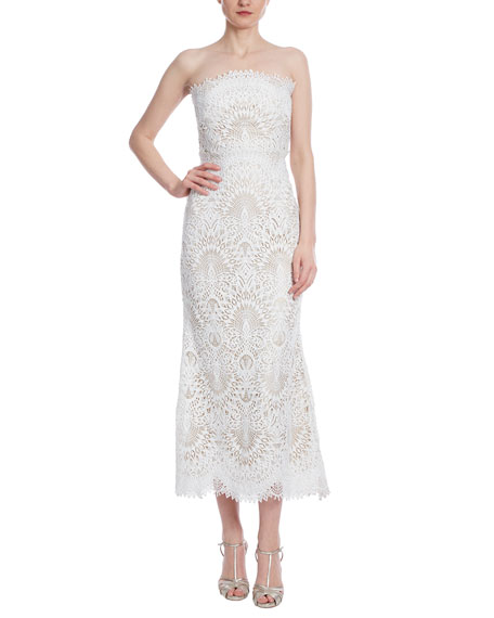 Badgley Mischka Collection Lace Midi Bustier Dress