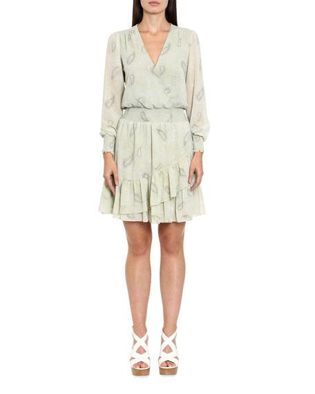 MICHAEL Michael Kors Spring Paisley Smocked-Waist Ruffle Dress