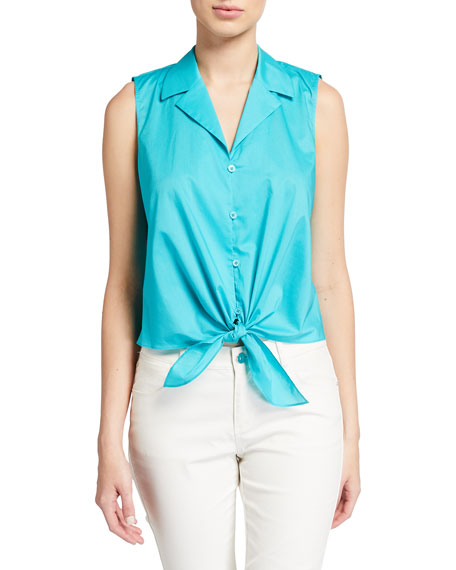 Lafayette 148 New York Wynter Sleeveless Tie-Front Blouse