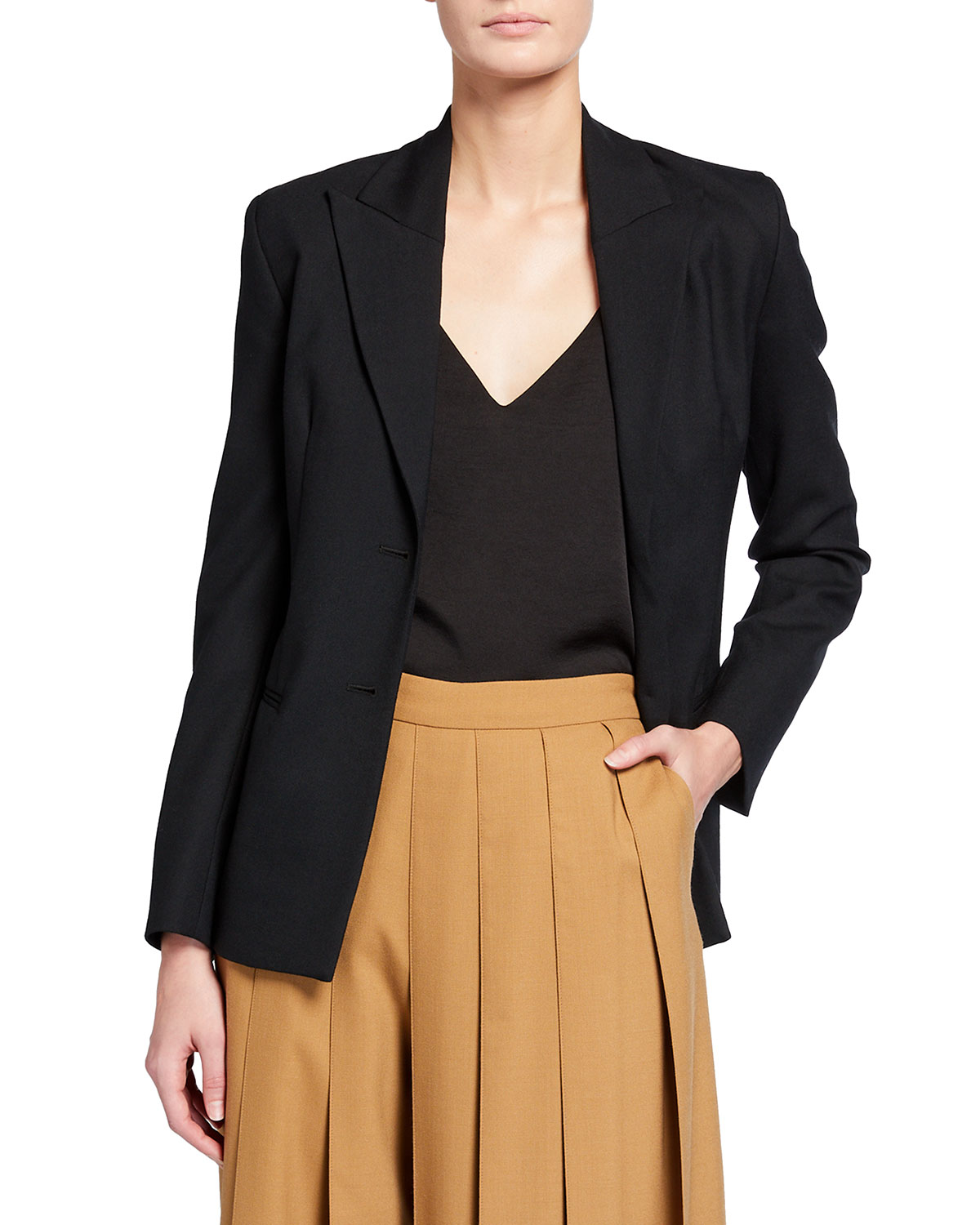Open-Back Suiting Lace-Up Blazer