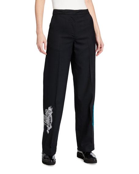 Kirin Haetae Embroidered High-Rise Suiting Pants