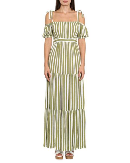 MICHAEL Michael Kors Striped Tie-Shoulder Maxi Dress