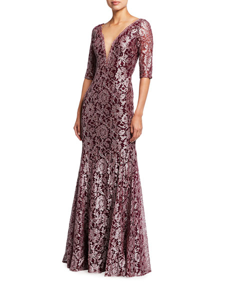 Jovani Metallic Lace V-Neck Elbow-Sleeve Gown