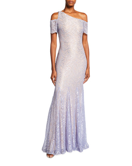 Jovani One-Shoulder Short-Sleeve Lace Gown