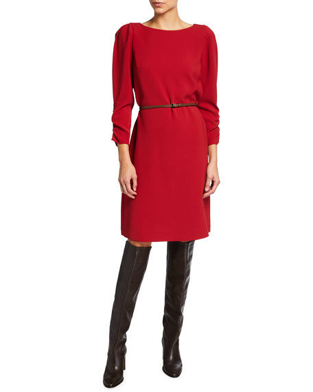 Lafayette 148 New York Romilly Finesse Crepe Dress with Dora Belt
