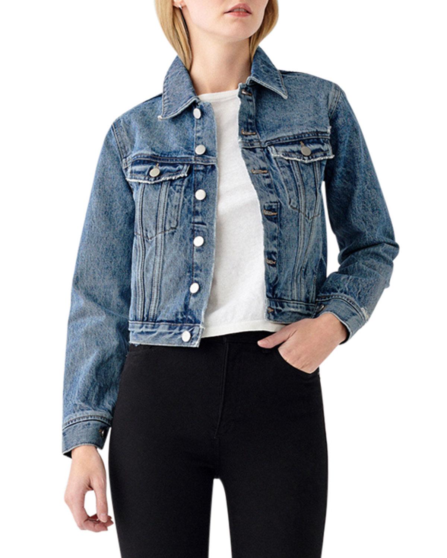 Vika Button-Front Denim Jacket