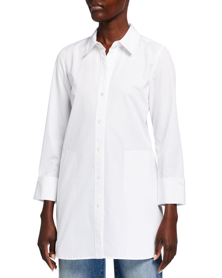 Lafayette 148 New York Wilkes Italian Sculpted Cotton Shirt
