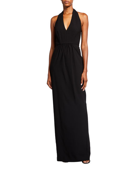 Black Halo Nixie Crepe Halter Gown