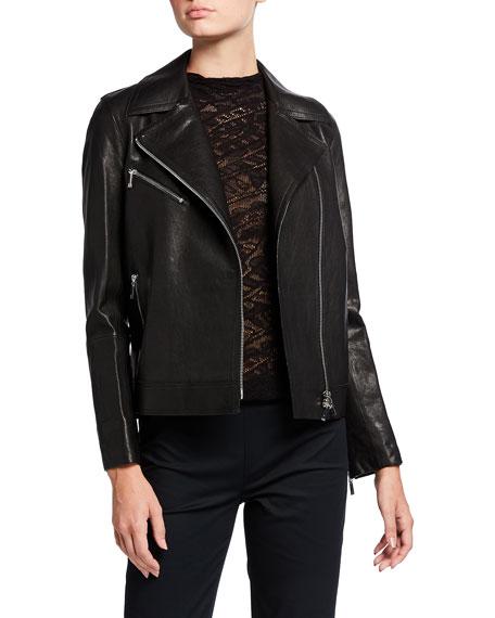 Lafayette 148 New York Aisling Washed Italian Lambskin Leather Moto Jacket