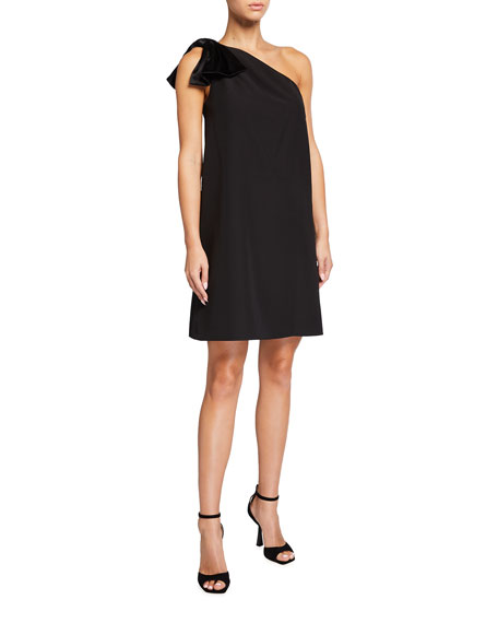 Aidan Mattox One-Shoulder Trapeze Dress with Bow