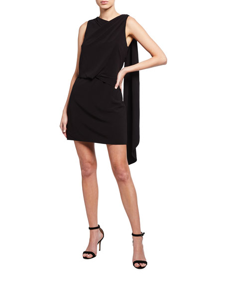 Halston Asymmetric Shoulder Drape Stretch Moss Crepe Dress