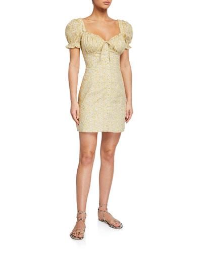Lucinta Floral Puff-Sleeve Mini Dress