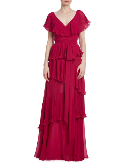 Badgley Mischka Collection Pleated Tiered Ruffle Gown