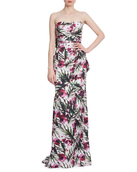 Badgley Mischka Collection Floral Print Bow Back Bustier Gown