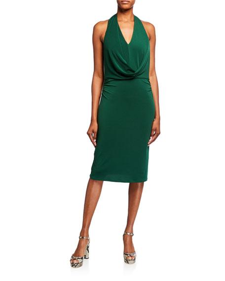 Halston Cowl-Front Jersey Halter Dress