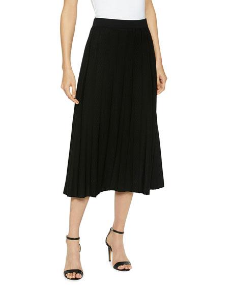 Misook Sunburst A-Line Knit Midi Skirt