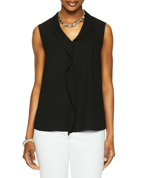 Misook Soft Ruffle Crepe De Chine Sleeveless Blouse