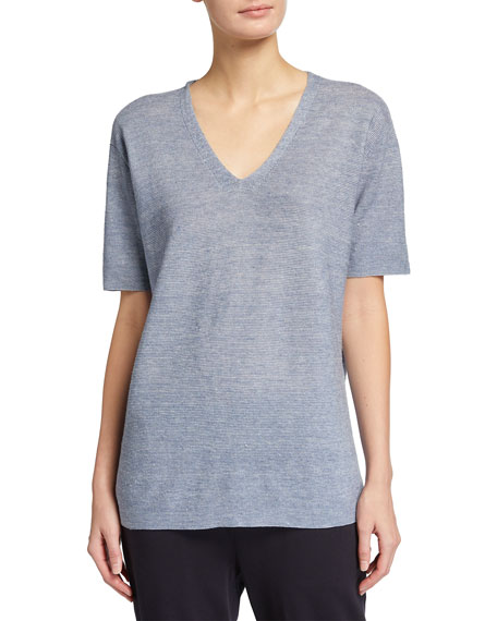 Eileen Fisher Plus Size Organic Linen Melange Short-Sleeve V-Neck Sweater