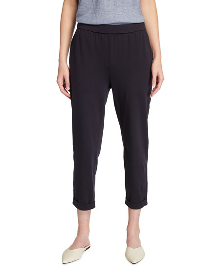 Eileen Fisher Organic Stretch Cotton Jersey Cropped Slim Pants