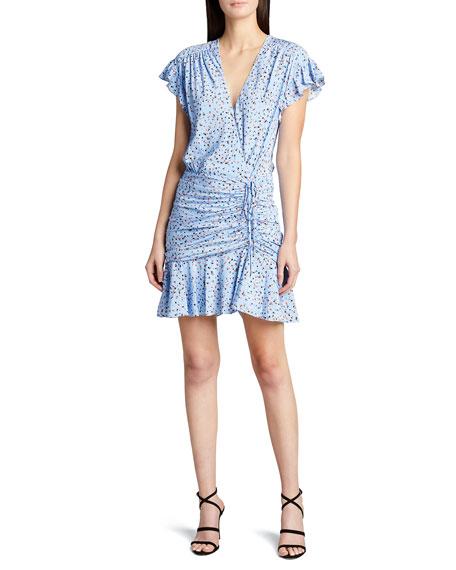Veronica Beard Marla Floral Print Flutter-Sleeve Mini Dress